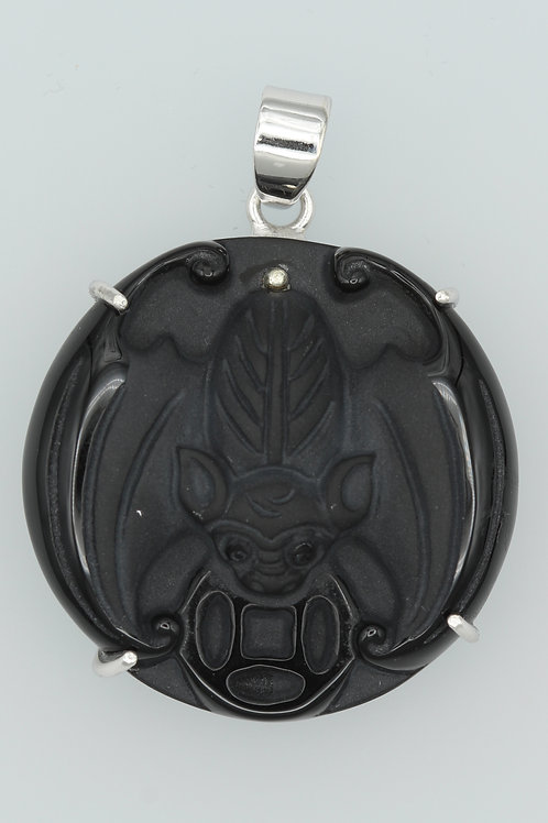 Black Onyx Bat Carving Pendant