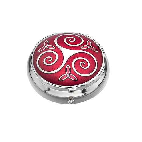 Celtic Red Spiral Enamel Pillbox