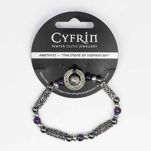 Amethyst Celtic Bead Bracelet