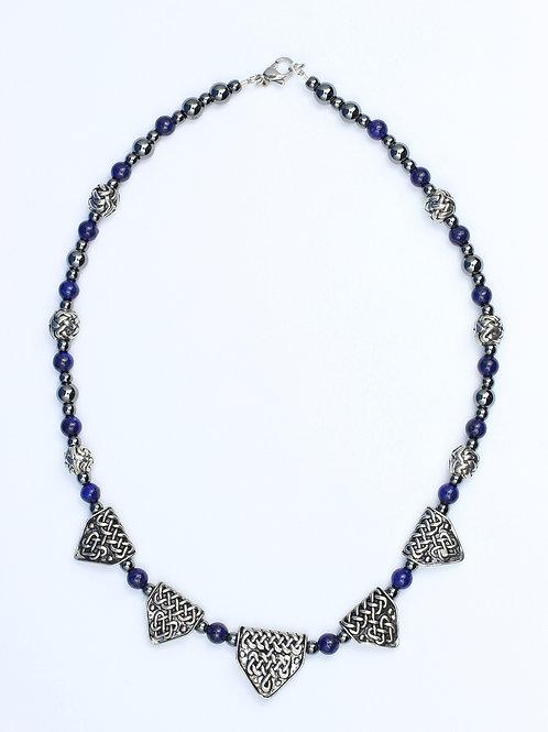 Celtic Dragon Teeth & Lapis Bead Necklace
