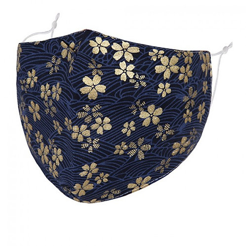 100% Cotton Gold Flowers Reusable Adult Face Covering with Filter Pou