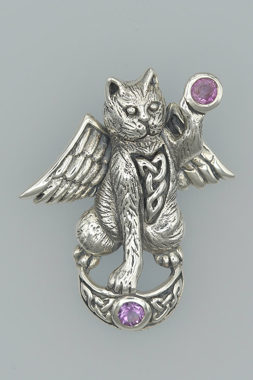 Celtic Angel Cat Pendant