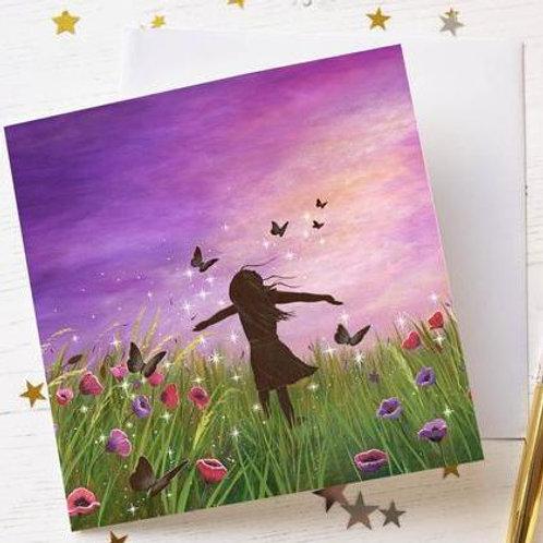 """Be Free"" Greetings Card"
