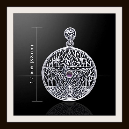 Sterling Silver Celtic Pentagram Tree of Life pendant