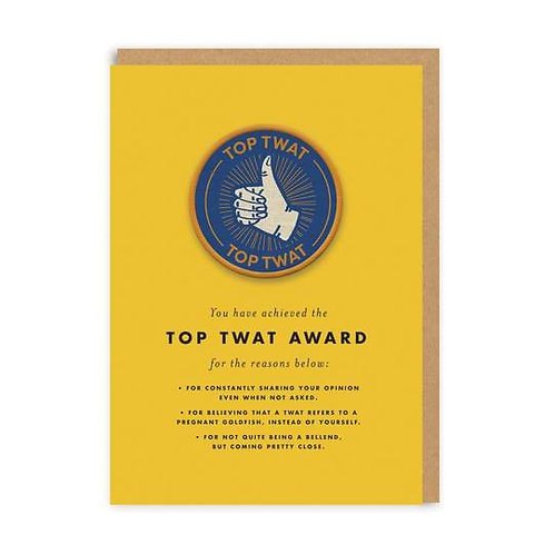 """""""Top Twat"""" Card with Patch"""