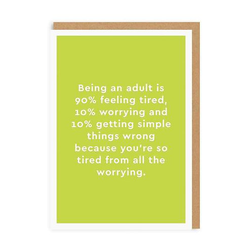 """""""Being an Adult"""" Card"""