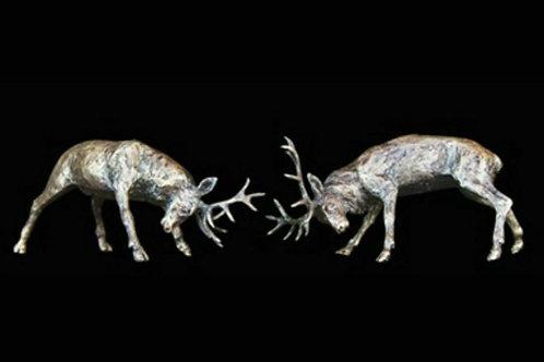 Rutting Stags Bronze Miniature
