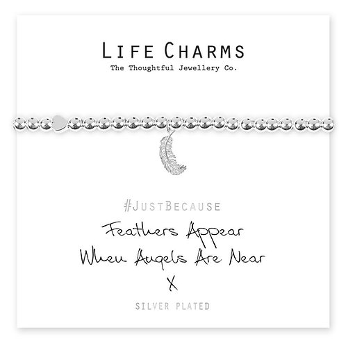 """""""Feathers Appear When Angels Are Near"""" Life Charm Bracelet"""