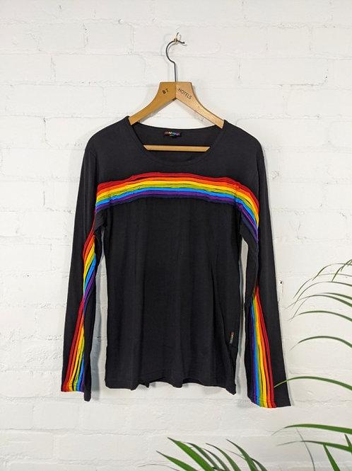 Black/Rainbow Long Sleeve T-Shirt - 100% Cotton