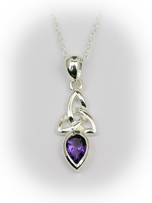 February - Amethyst Celtic Pendant