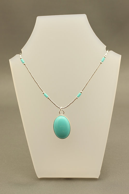 Turquoise Liquid Silver Necklace