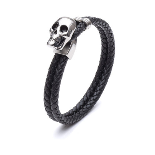 Tribal Men's Plaited Leather Skull Bracelet