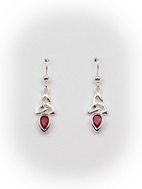 July - Ruby Celtic Earrings