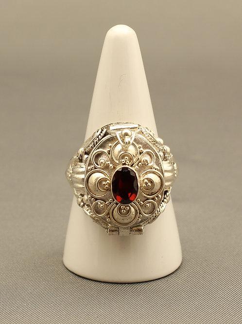 Garnet Poison Locket Ring