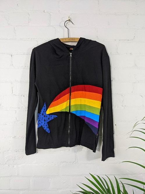Black/Rainbow Long Sleeve Zip Hoodie - 100% Cotton