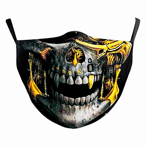 Cyber Skull Reusable Adult Face Covering with Filter Pouch