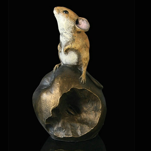 Mouse On Apple Bronze Figurine