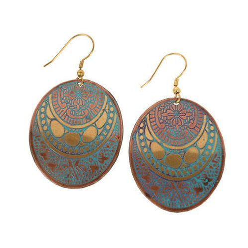 Gold and Turquoise Oval Earrings