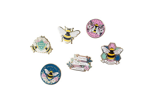 Bee Happy Pin Badges