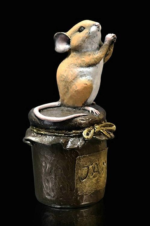 Mouse On Jam Jar Bronze Figurine