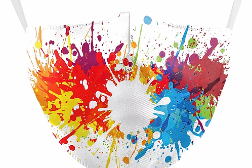 Paint Splash Reusable Adult Face Covering with Filter Pouch