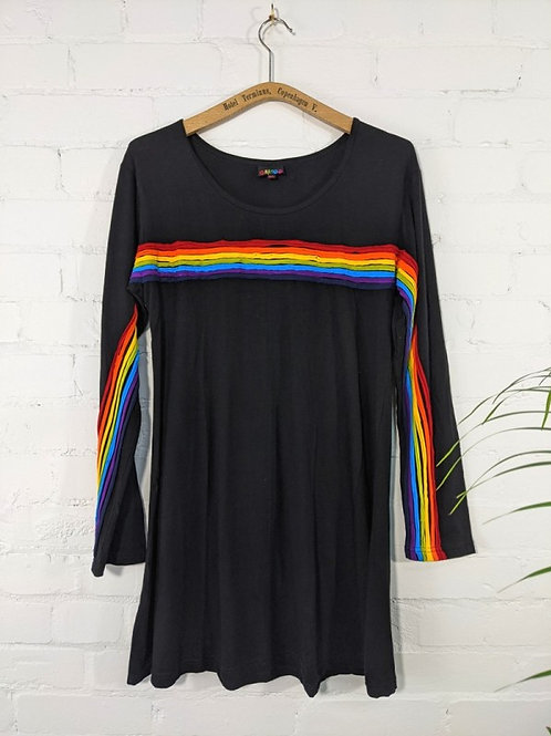 Black/Rainbow Long Sleeve, Short Dress - 100% Cotton