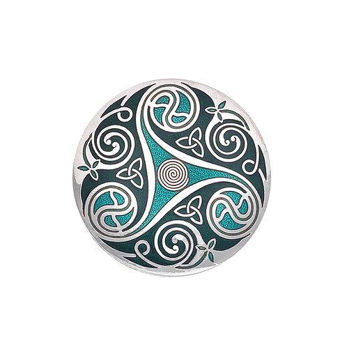 Green Enamel Celtic Spiral & Knot Brooch