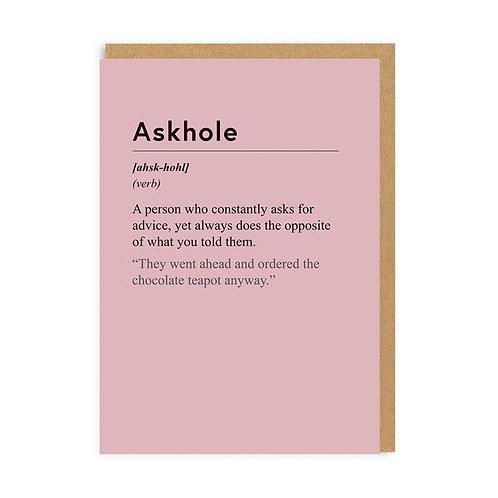 """""""Askhole"""" Card"""