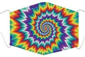 100% Cotton Bright Spiral Reusable Adult Face Covering with Filter Pou