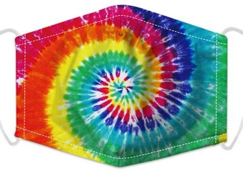 100% Cotton Tie-Dye Reusable Adult Face Covering with Filter Pou