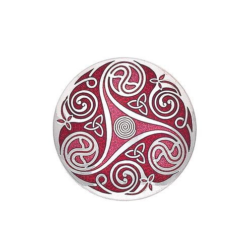 Red Enamel Celtic Spiral & Knot Brooch