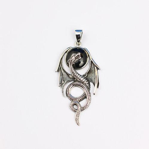 Sterling Silver Onyx Dragon Pendant