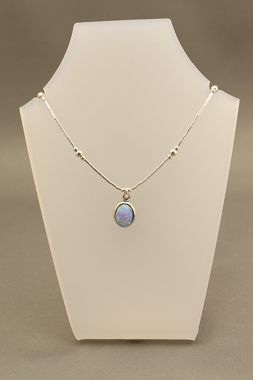 Blue Opal Liquid Silver Necklace