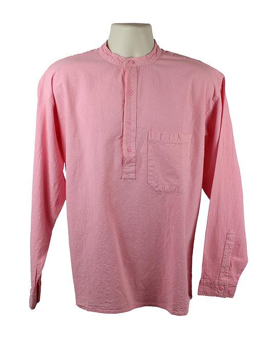 Pink Collarless Grandad Shirt
