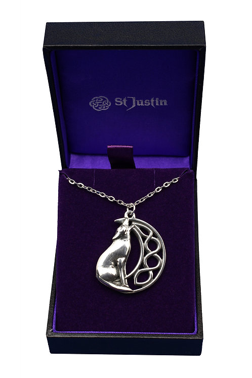 Celtic Moon & Wolf Pendant