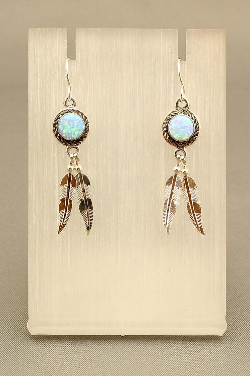 Blue Opal Feather Earrings