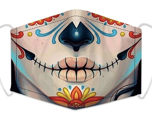 100% Cotton Day of the Dead Reusable Adult Face Covering with Filter Pou