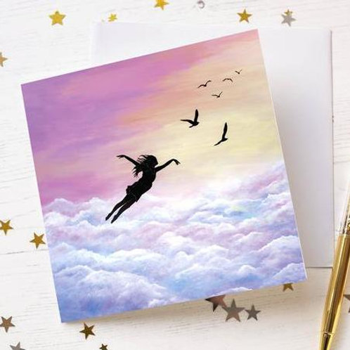 """Let Go and Fly"" Greetings Card"