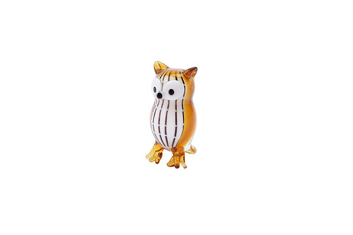 Fox and Fern Glass Owl