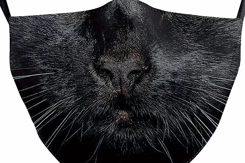 Black Cat Reusable Adult Face Covering with Filter Pouch
