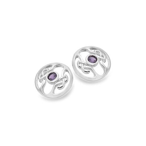 Amethyst Celtic Stud Earrings