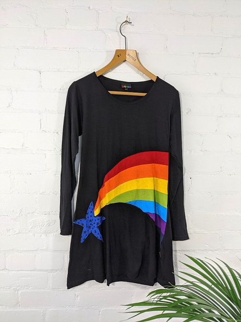 Black/Rainbow Long Sleeve, Short Dress - 100% Cotton
