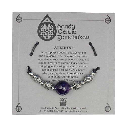 Celtic Amethyst Beady Gem Choker Necklace