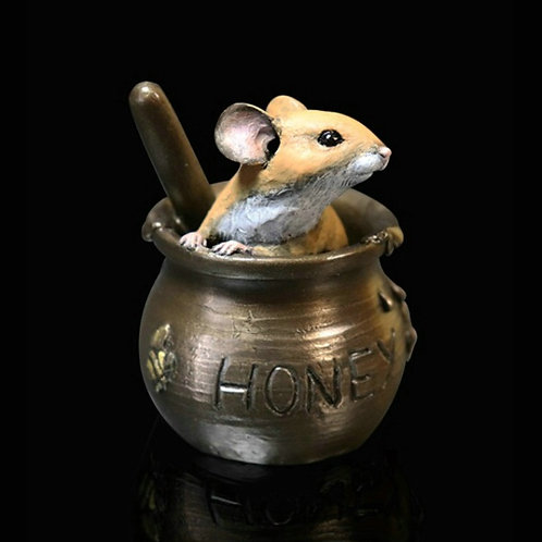 Mouse in Honey Pot Bronze Figurine
