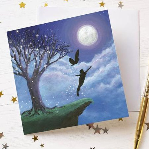 """Fly to the Moon"" Greetings Card"