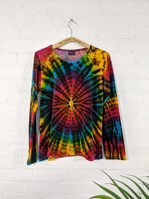 Rainbow Tie Dye Velour Long Sleeve T-Shirt - 100% Cotton