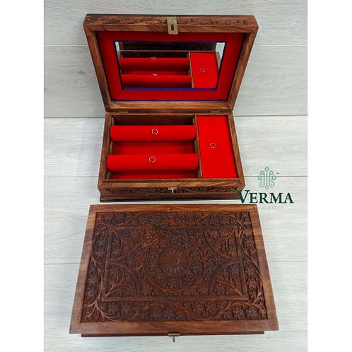 Carved Wooden Jewellery Box