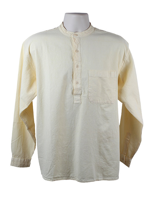 Cream Collarless Grandad Shirt