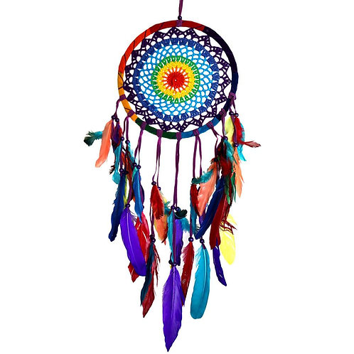 Crochet Rainbow Dreamcatcher