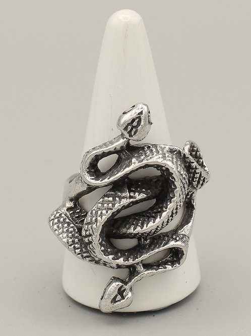 Coiled Two-Headed Snake Ring